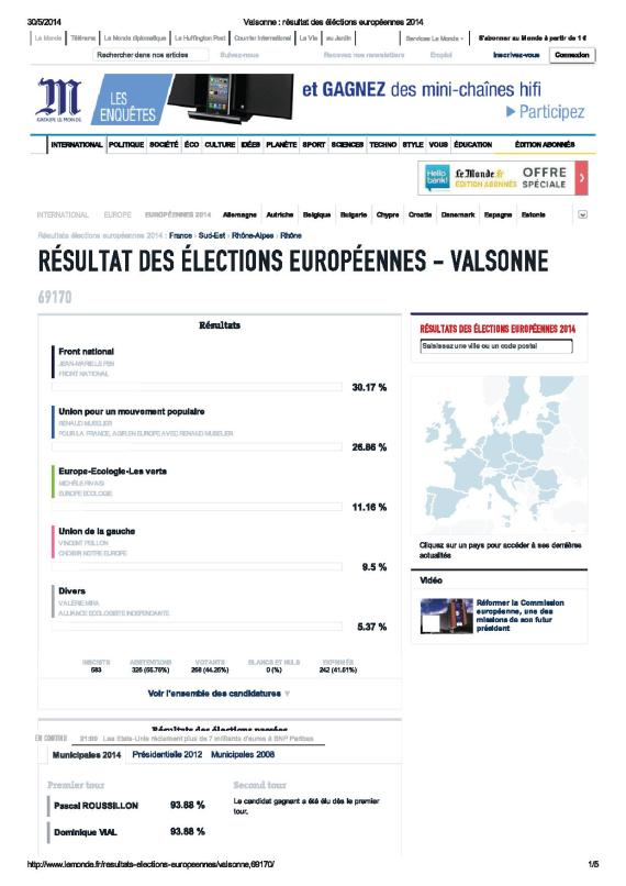 Valsonne _ résultat des éléctions européennes 2014